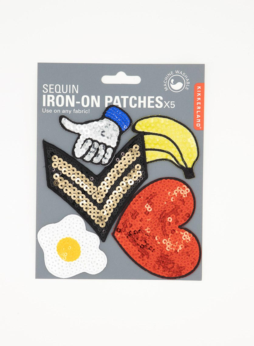 Sequin Iron-On Patches, Yellow/Red/White