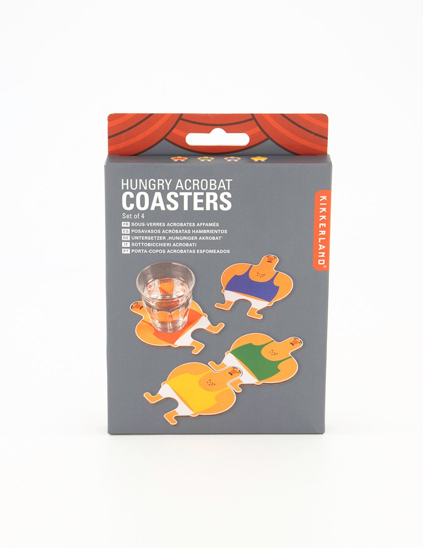 Hungry Acrobat Coasters Set of 4, Blue/Green/Red/Yellow