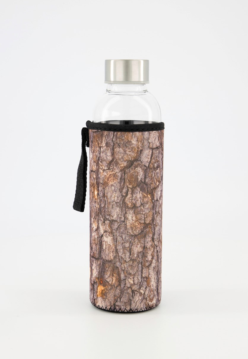 Log Glass Bottle With Sleeve, Brown/Transparent