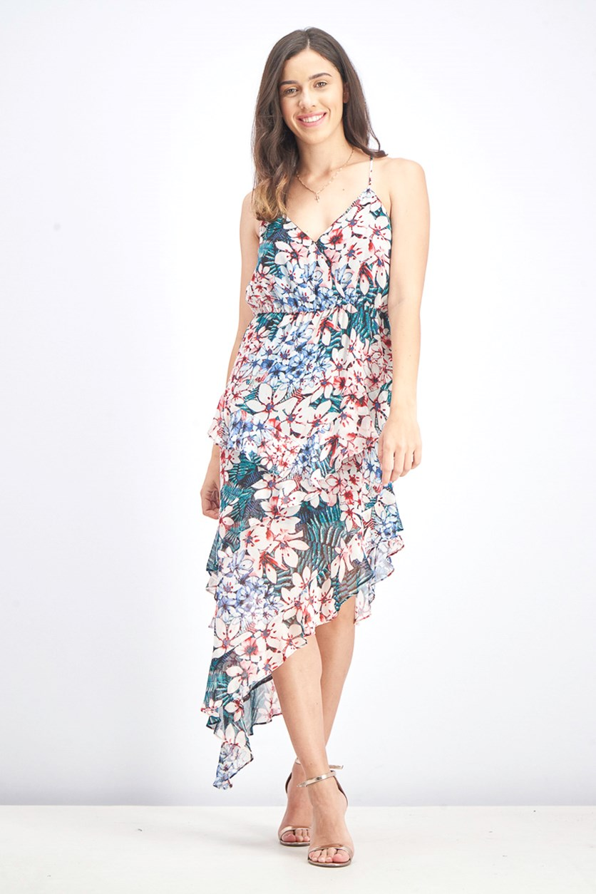 Women's Floral Print Tiered Dress, Rose Combo