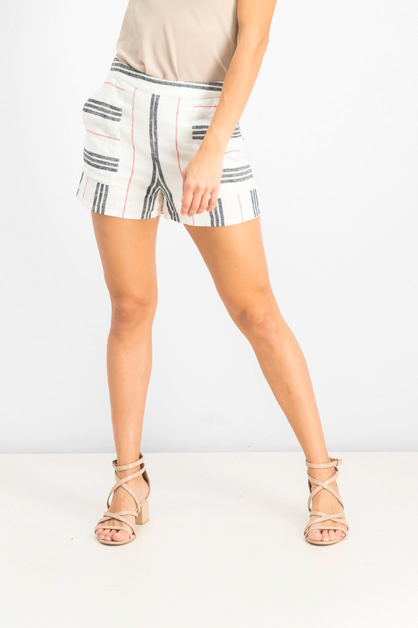 Women's Patch Pocket Striped Shorts, Cream Combo