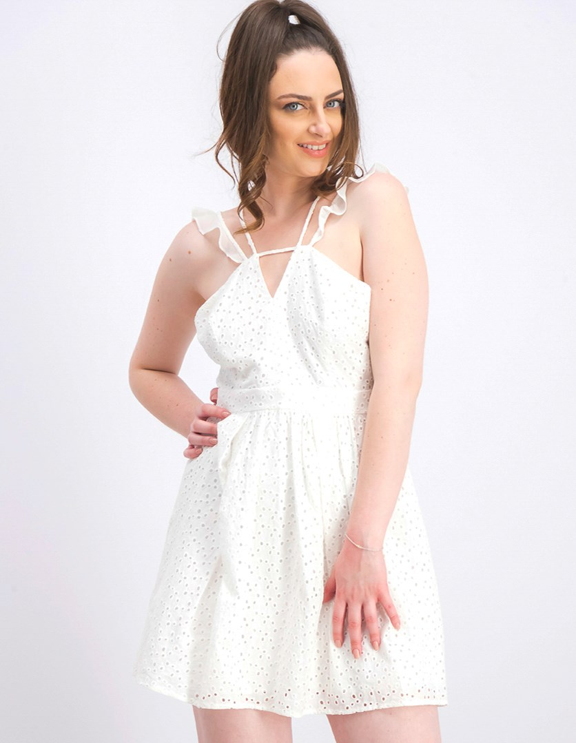Women Strappy Eyelet Fit-and-Flare Dress, Optic White