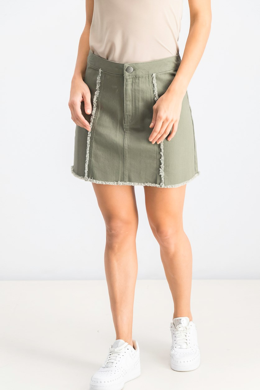 Womens Frayed Casual Denim Skirt, Dusty Olive