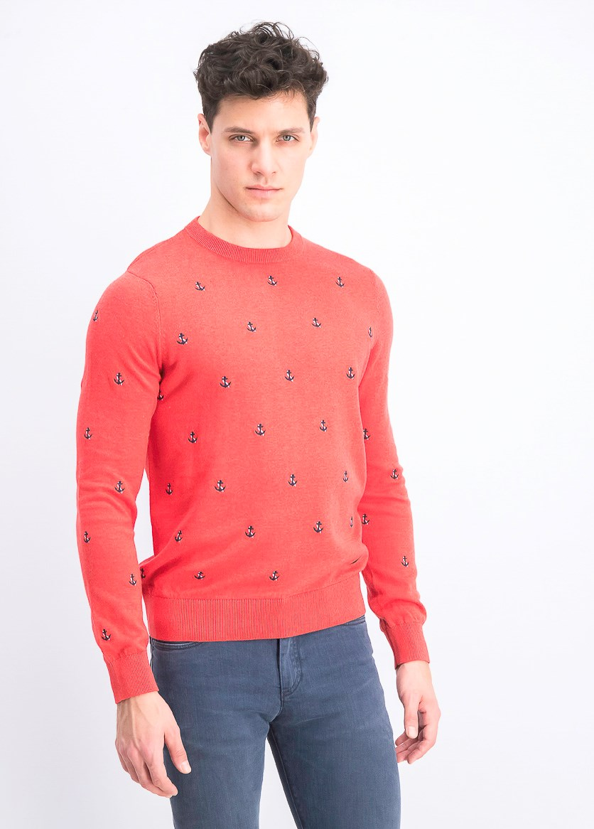 Maritime Crew Long Sleeves Sweater, Coral Heather