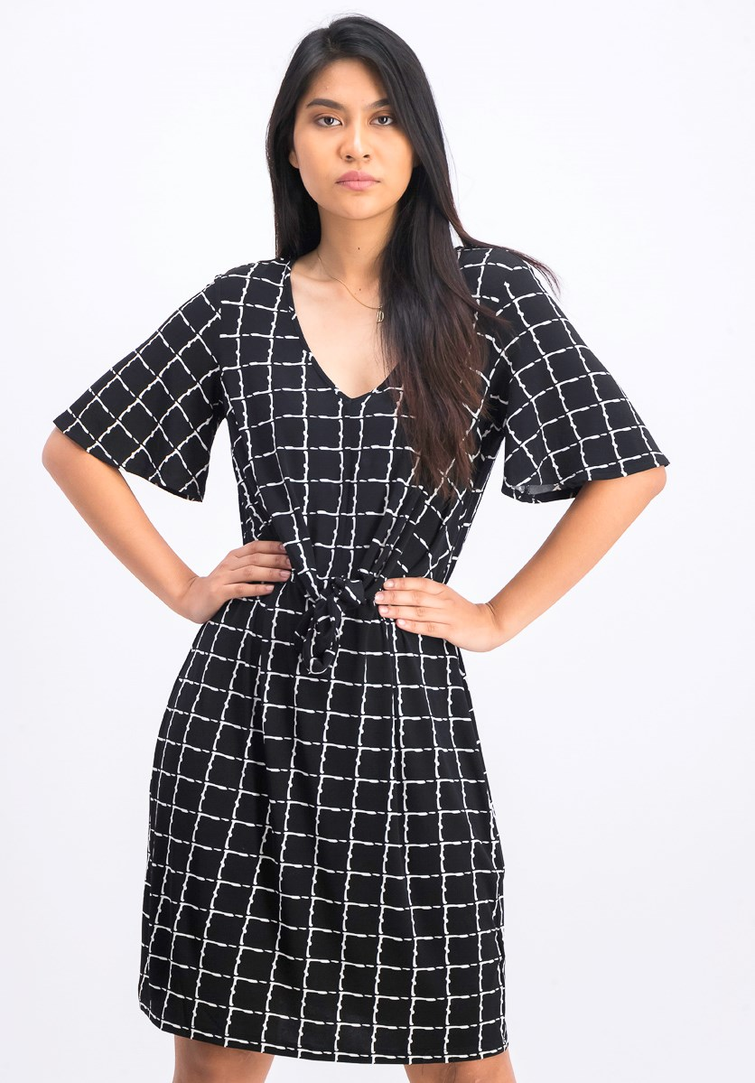 Women's Petite Printed Dress, Black Combo