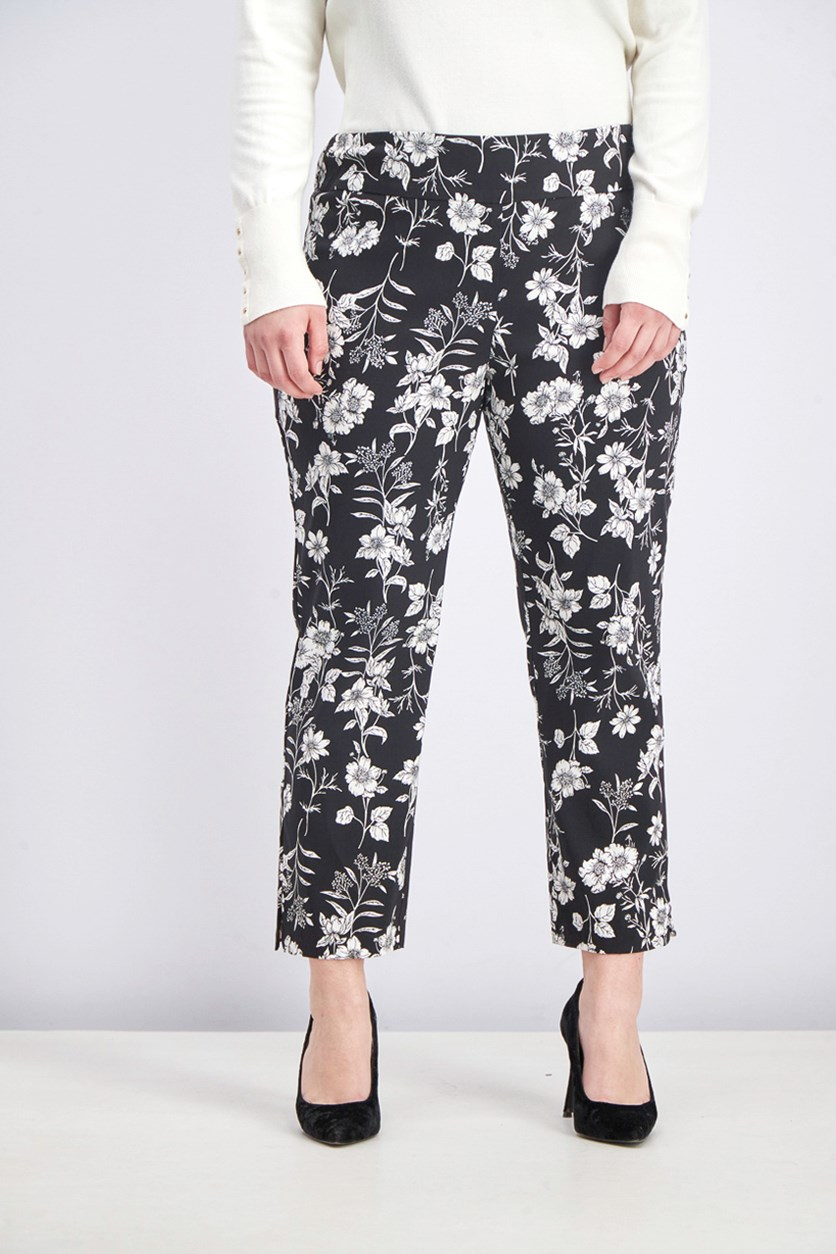 Women's Printed Capri Pants, Black/White