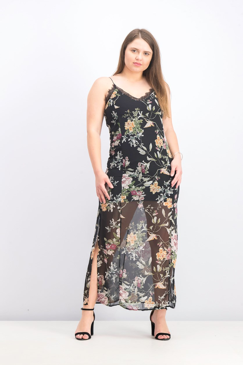 Women's Tulle Floral Print Dress, Black