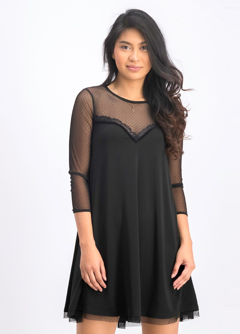 Women's Lacey Top Mini Dress, Black