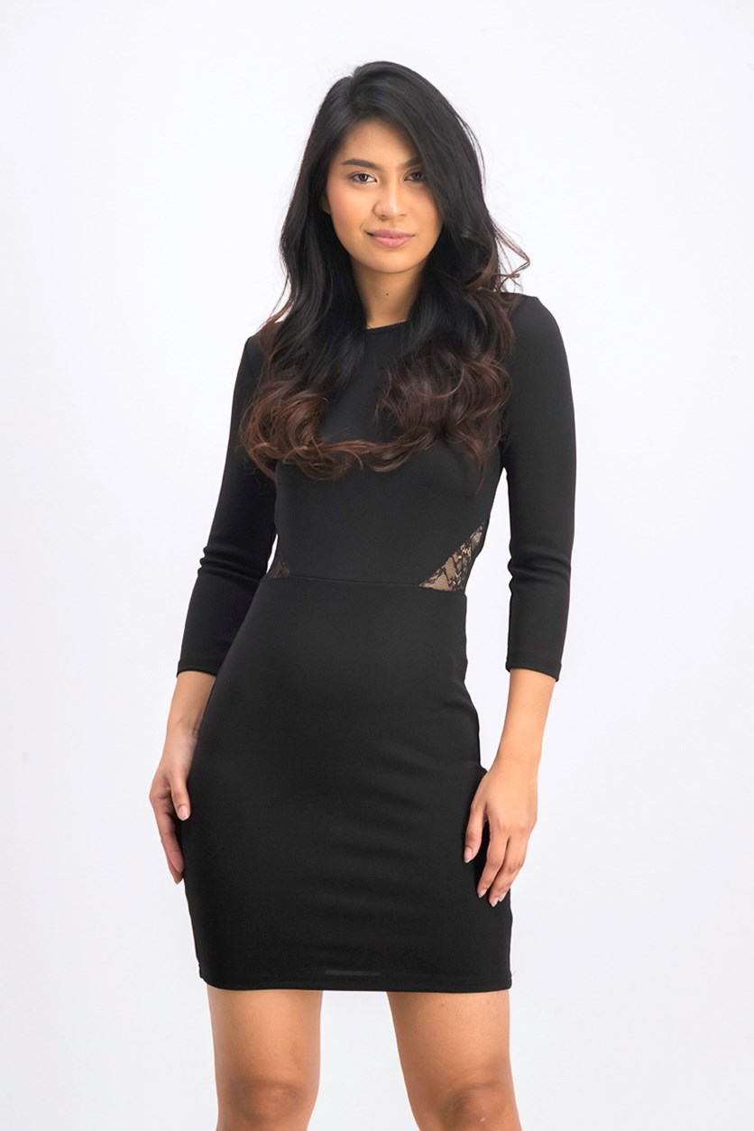 Women's Long Sleeve Black Dress, Black