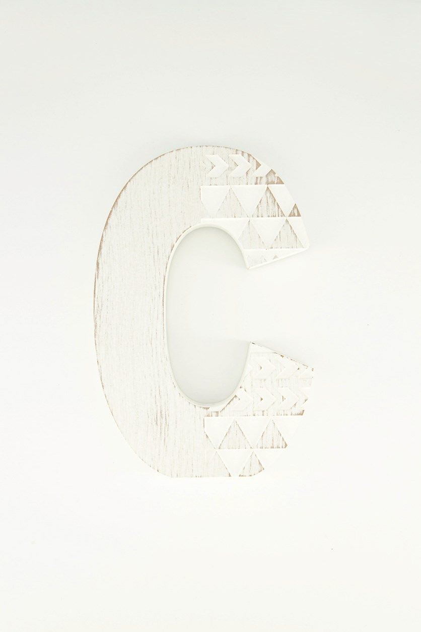 Hanging Wood Letter S, White