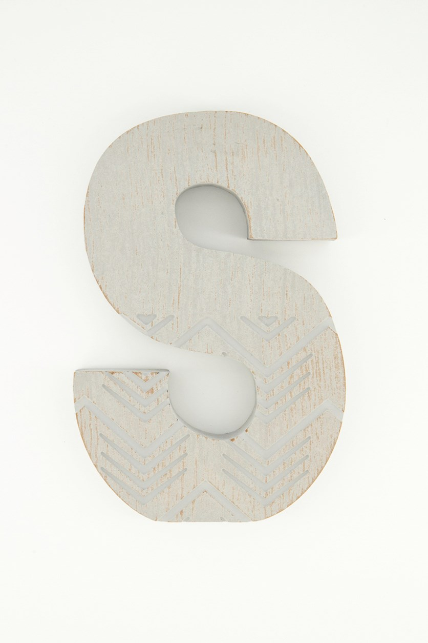 Hanging Wood Letter S, Grey