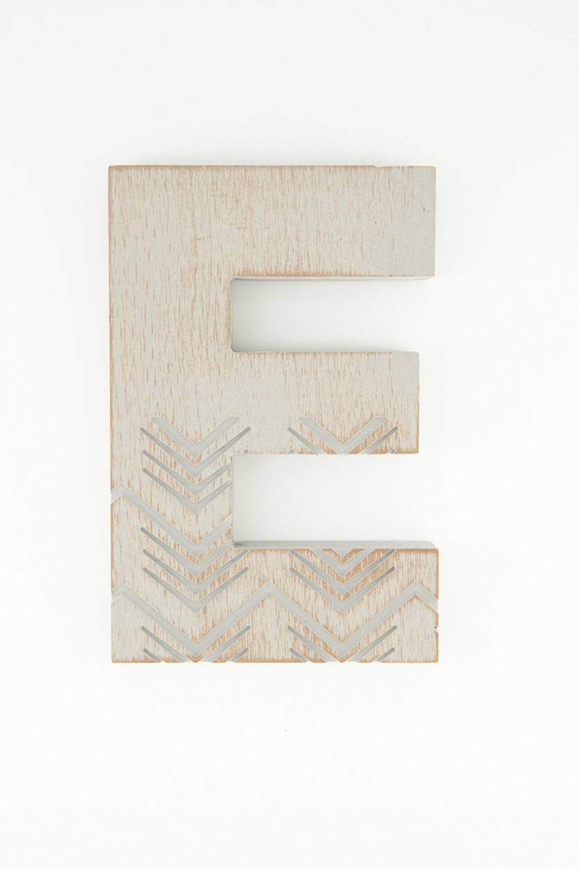 Hanging Wood Letter E, Grey