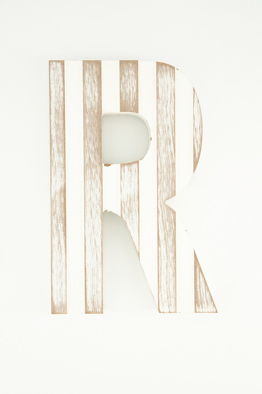 Hanging Wood Letter R, White