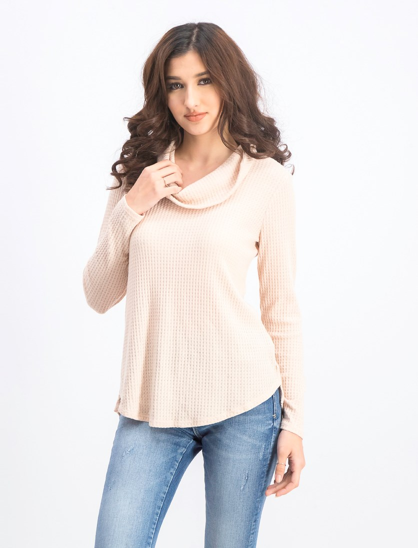 Women's Cowl Neckline Sweater Tops, Peony Blush