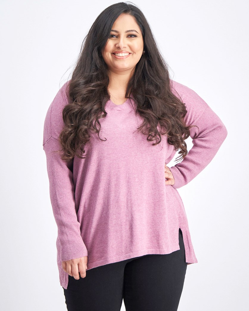 Plus Size High-Low Over-sized Tunic Top, Mauve