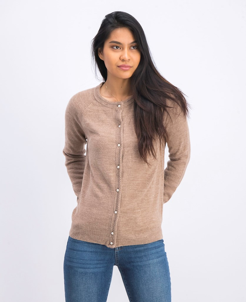 Women's  Luxsoft Pearl Button Cardigan, Brown