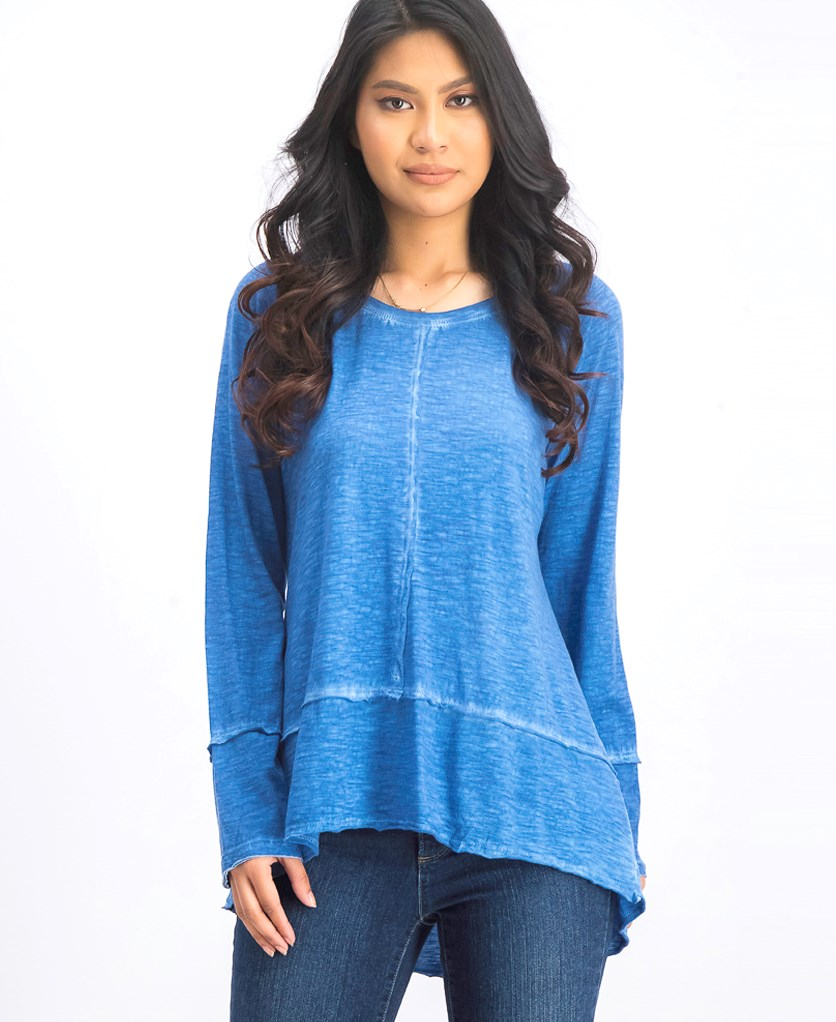 . Washed High-Low Hem Top, Cerulean