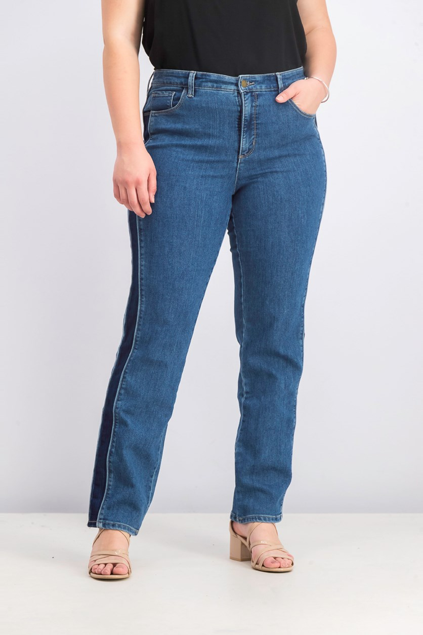 Women's Denim Stripe Straight Leg Jeans, Palmdale Wash