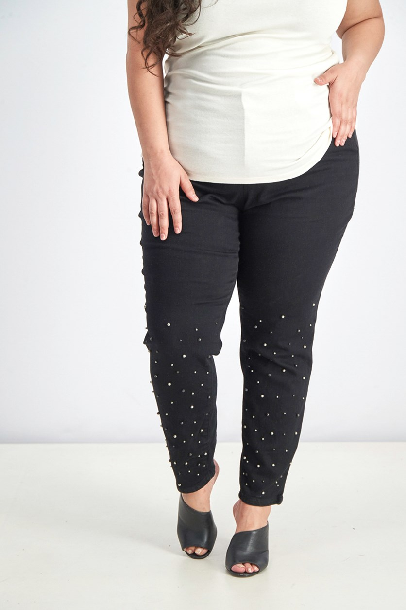 Women's Denim Embellished Skinny Jeans, Black