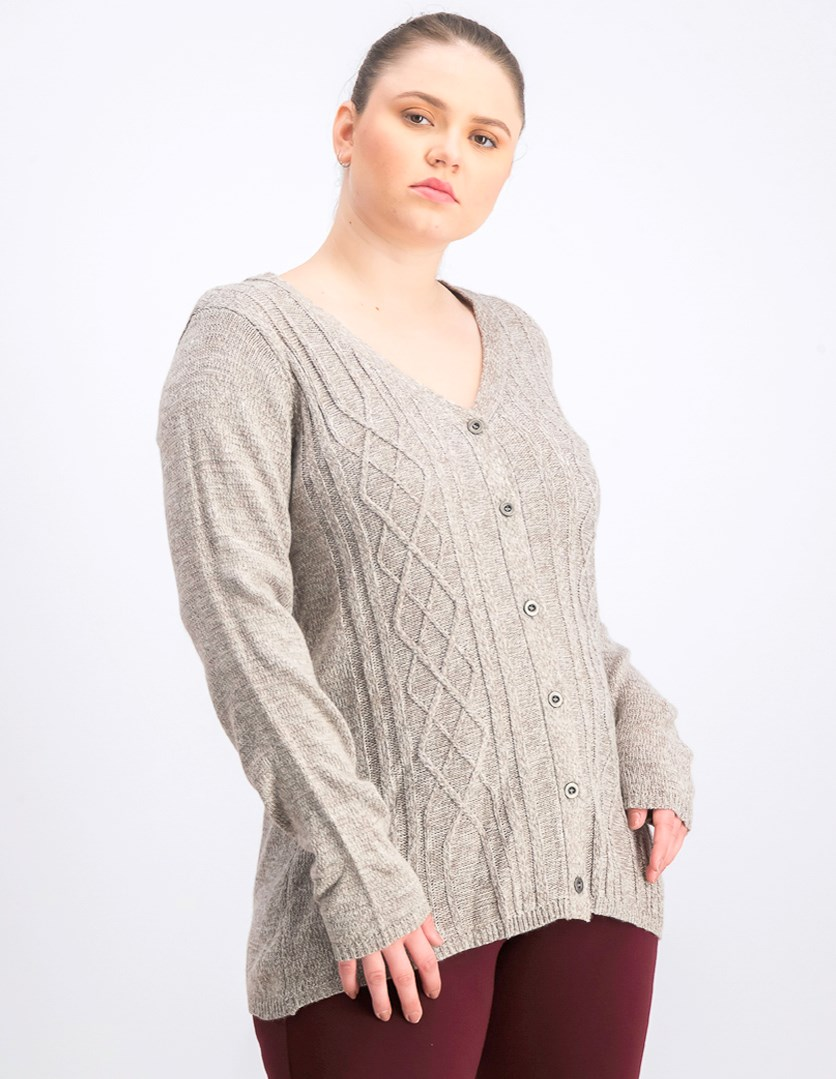 Women's V-Neck Cardigan Sweater, Gull Marl