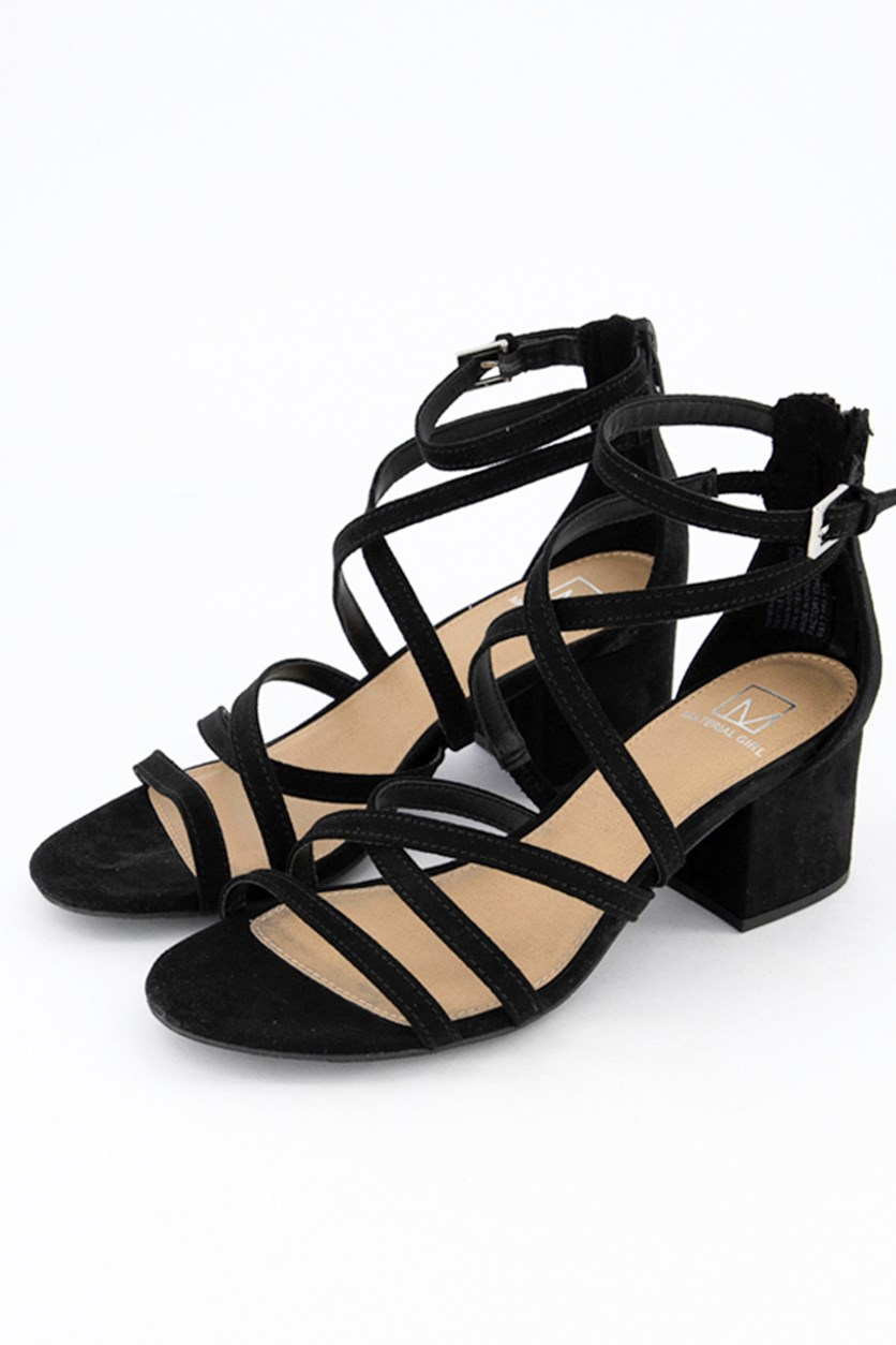 Inez Block-Heel Sandals, Black Microsuede