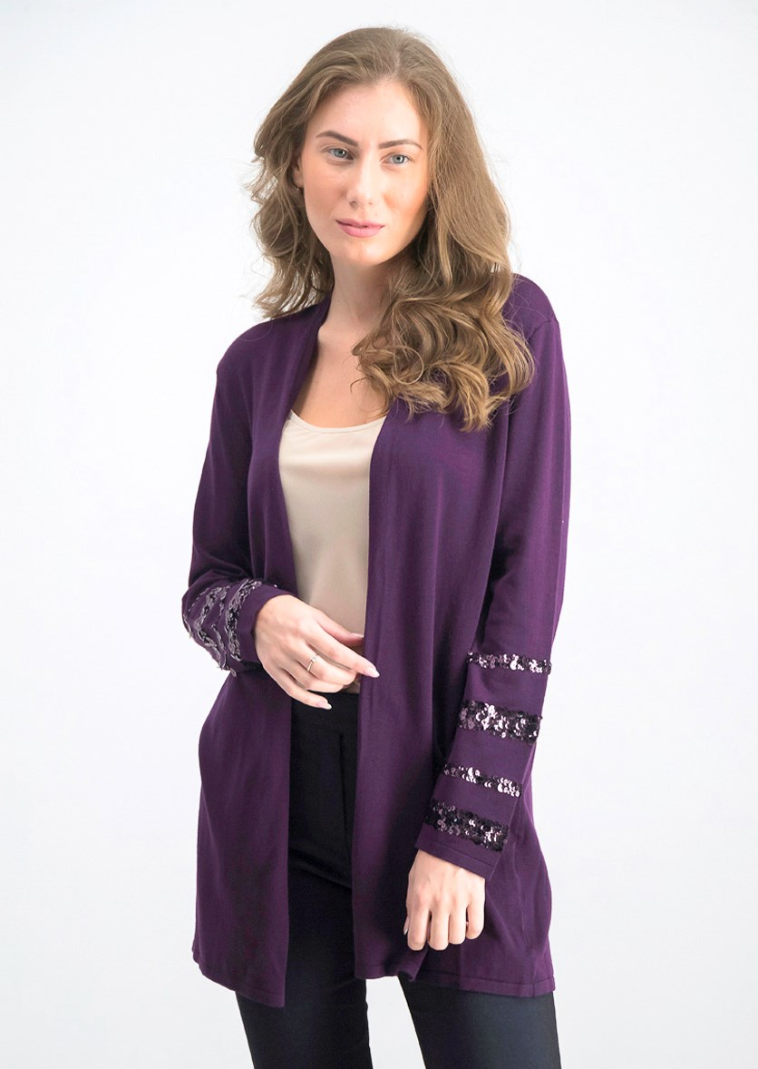 Women Petite Embellished-Sleeve Cardigan, Purple