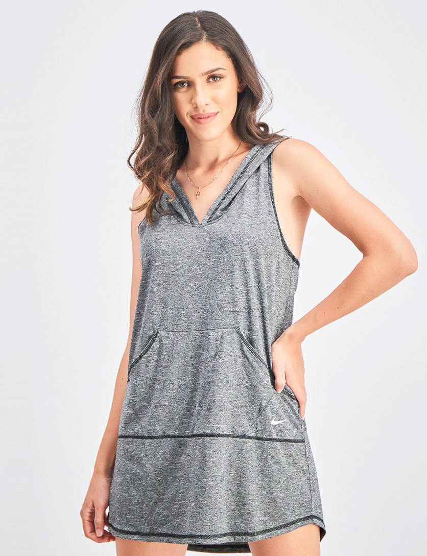 Women's Hooded Dress Cover-Up Swimsuit, Grey Heather