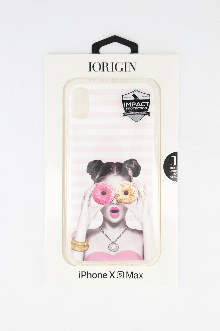 iPhone Xs Max Girl Donuts Soft Case, Pink Combo