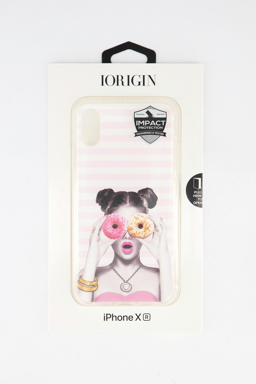 iPhone XR Girl Donuts Soft Case, Pink Combo