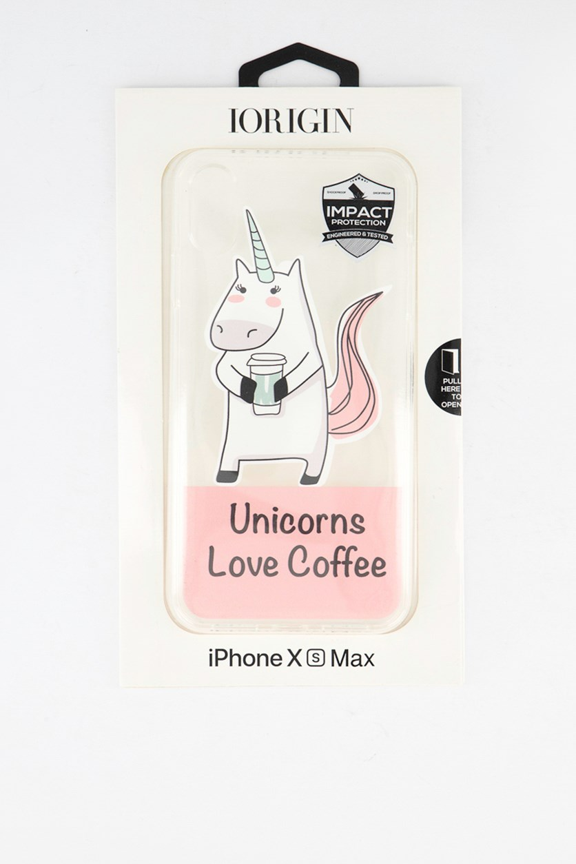 iPhone Xs Max Unicorns Love Coffee Soft Case, Clear