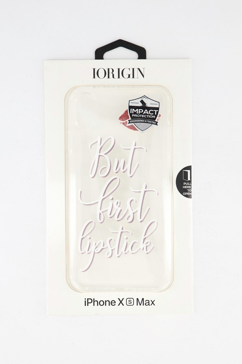 iPhone Xs Max But First Lipstick Soft Case, Clear