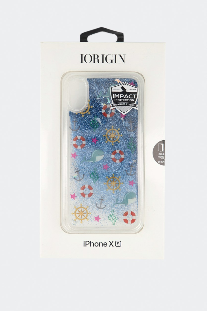 iPhone Xs Dolphins Glitter Hard Case, Clear
