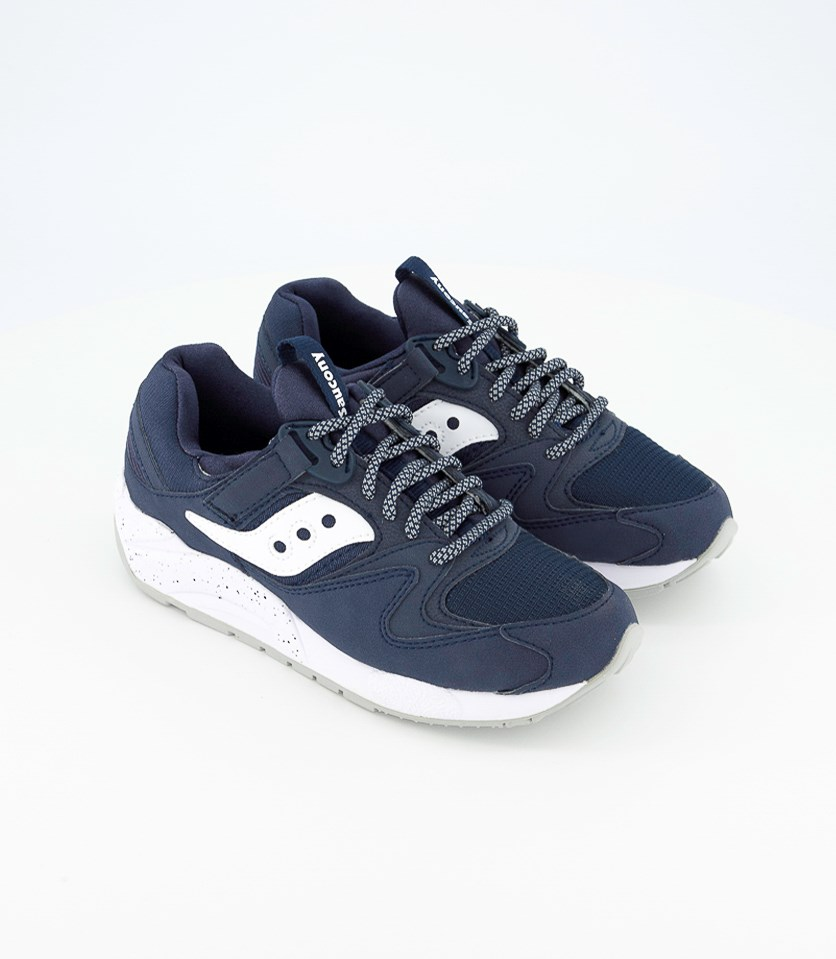 Men's Grid Casual Shoes, Navy/White