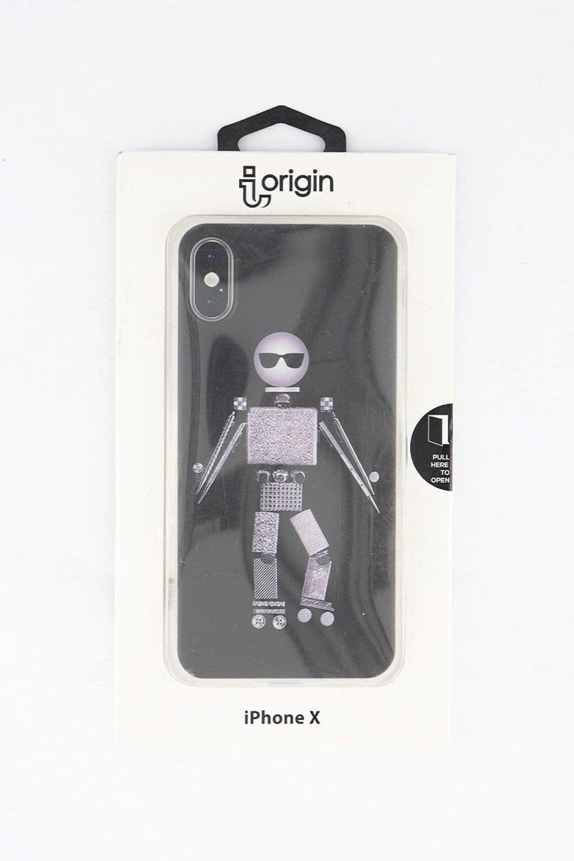 iPhone X Cool Robot Flexible Soft TPU Case, Black