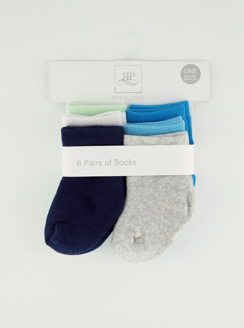 Baby Boy's 6 Pair Of Socks, Blue Combo