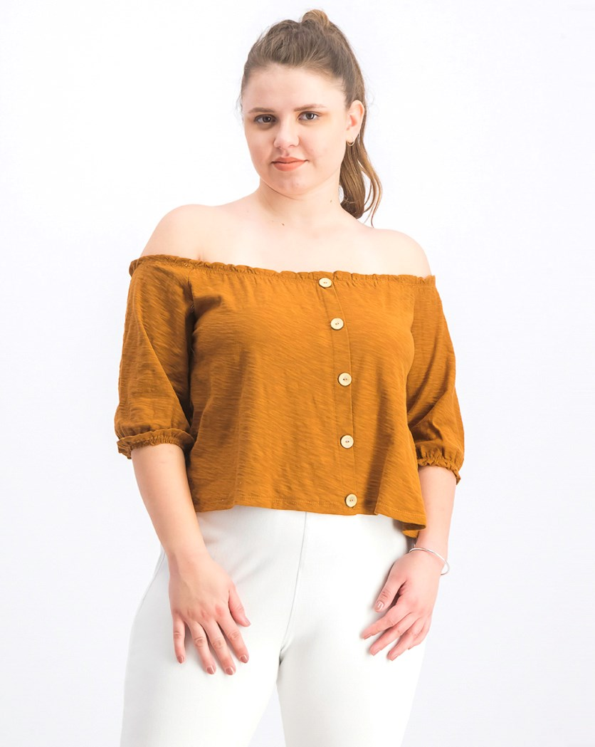 Women's Off Shoulder Top, Rust