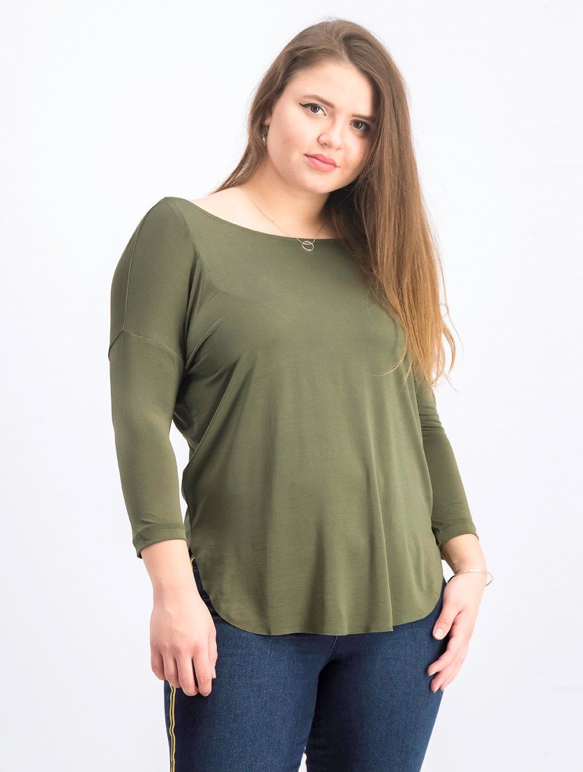 Women's 3/4 Sleeve Tops, Olive Green