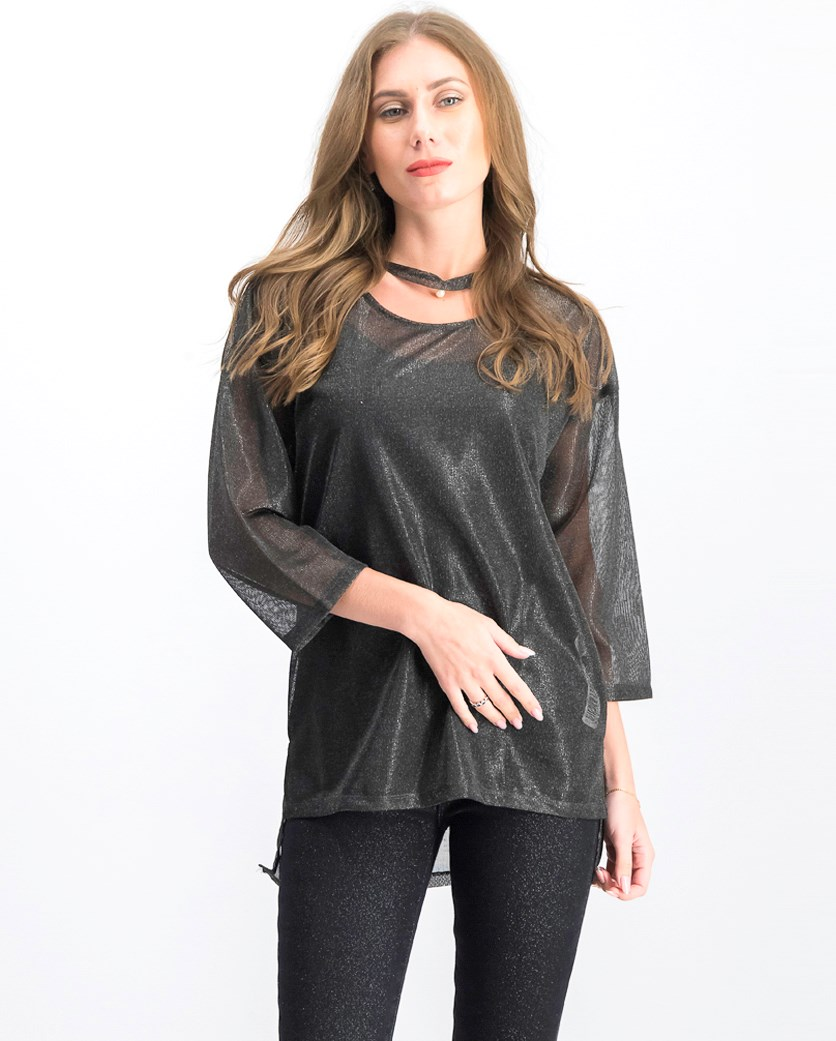 Women's Textured Tops, Charcoal Black