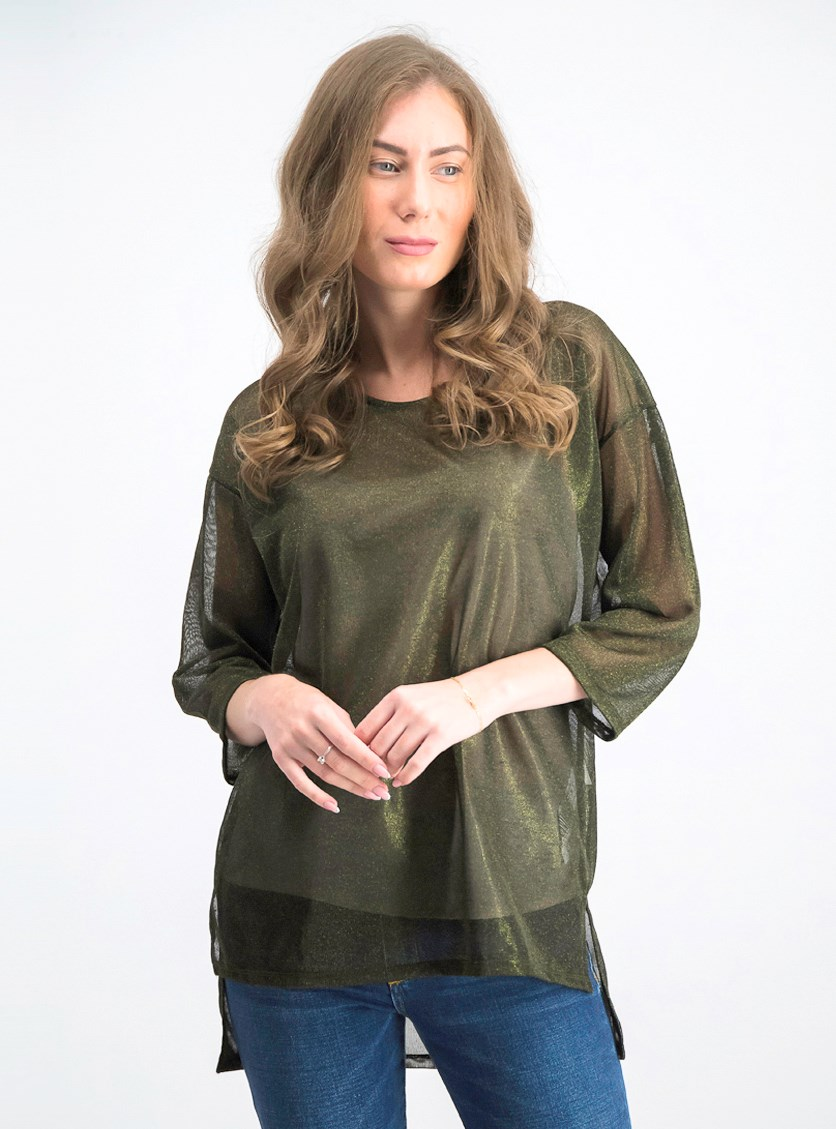 Women's Textured Tops, Olive Green