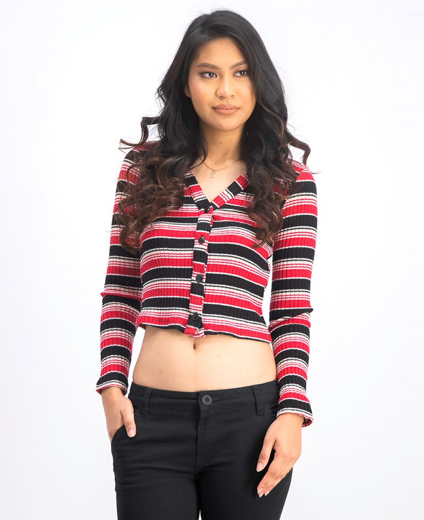 Women's Ribbed Cardigan, Red/Black