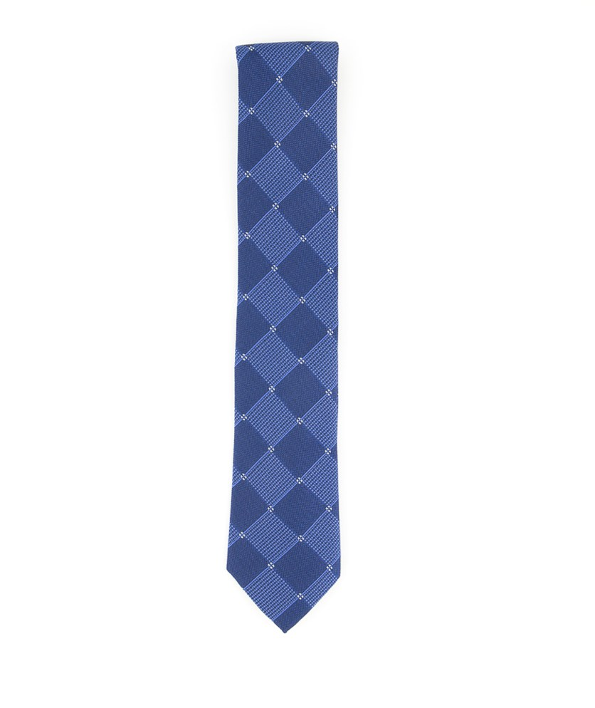 Men's Texture Grid Slim Tie, Navy