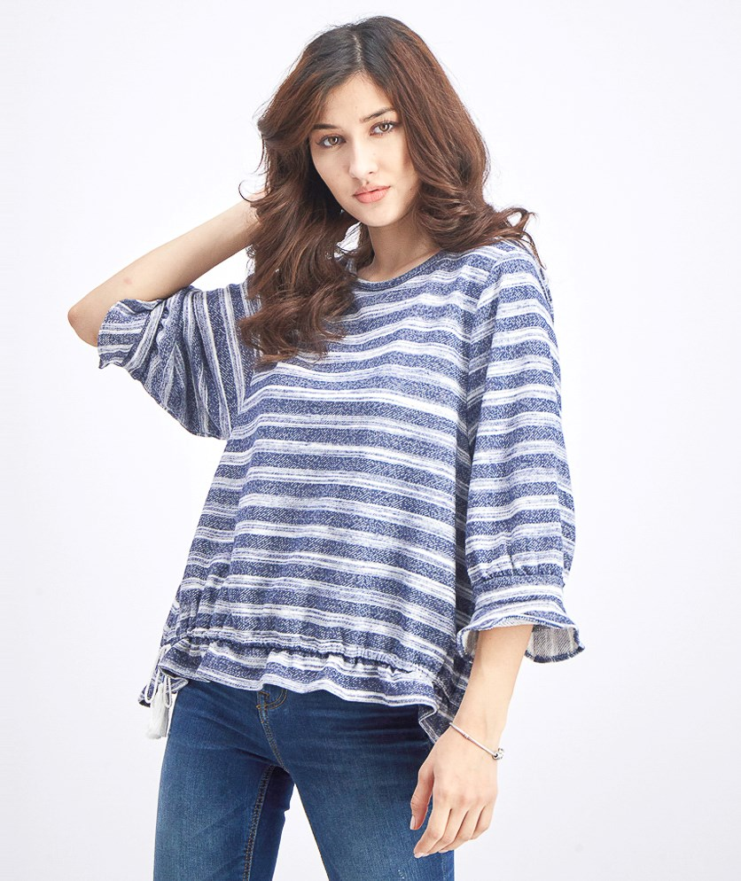 Women's Striped Adjustable Waist Pullover Top, Navy/White