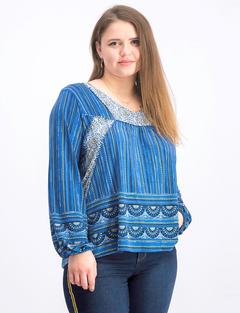 Women's Printed Peasant Top, Blue Coastal