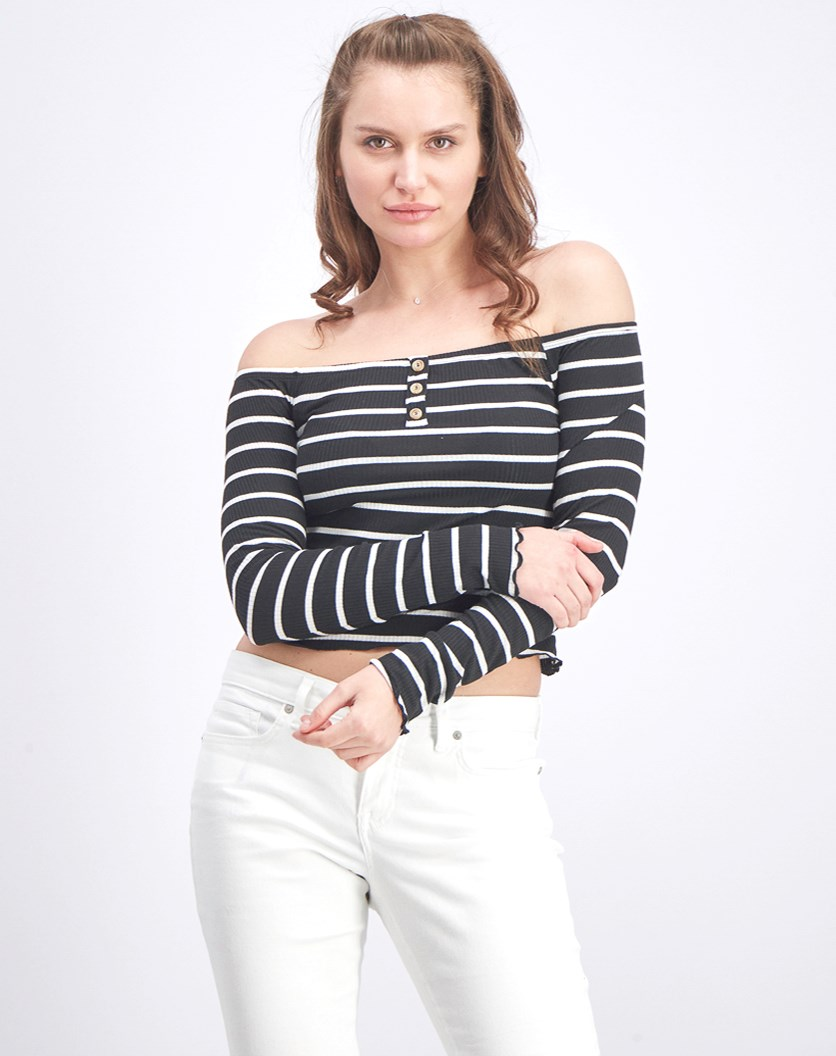 Women's Stripe Longsleeve Off Shoulder Top, Black/White