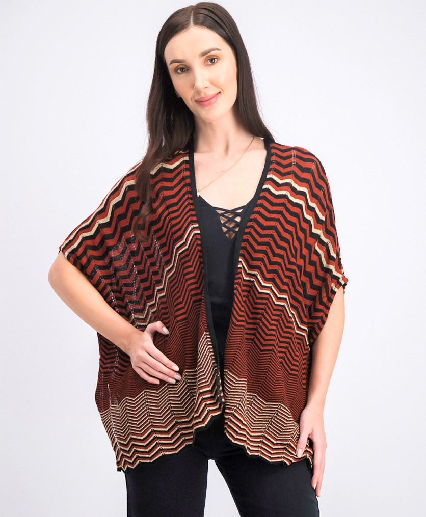 Women's Poncho Cardigan, Black/Rust/Gold