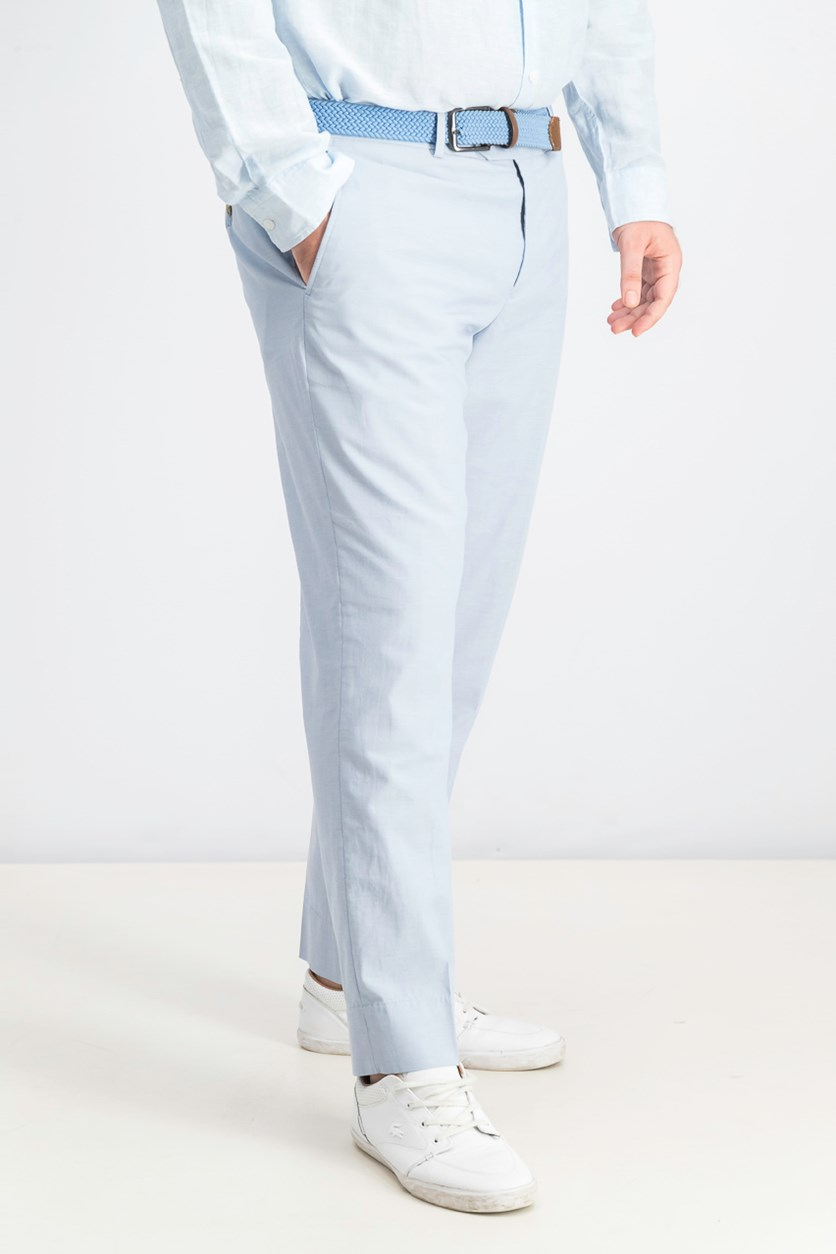 Chambray Slim-Fit Pants, Light Blue