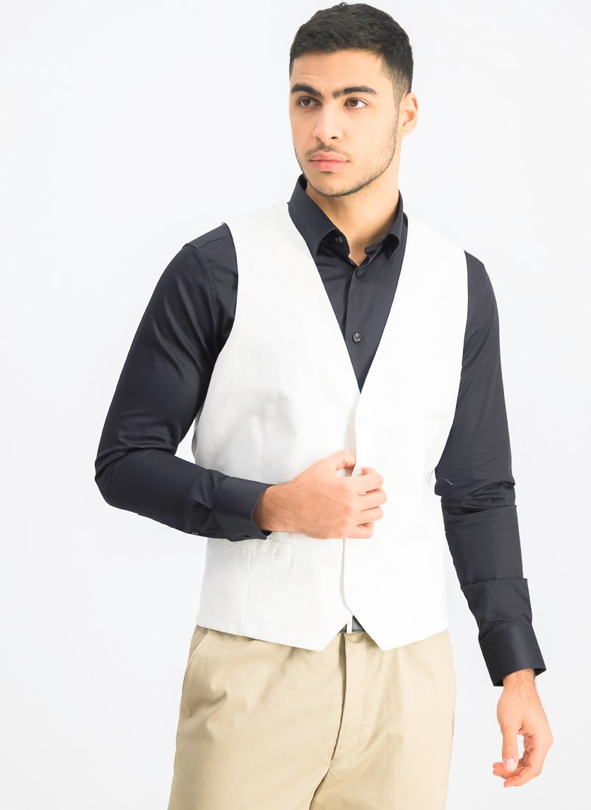 White Solid Slim-Fit Vest, White