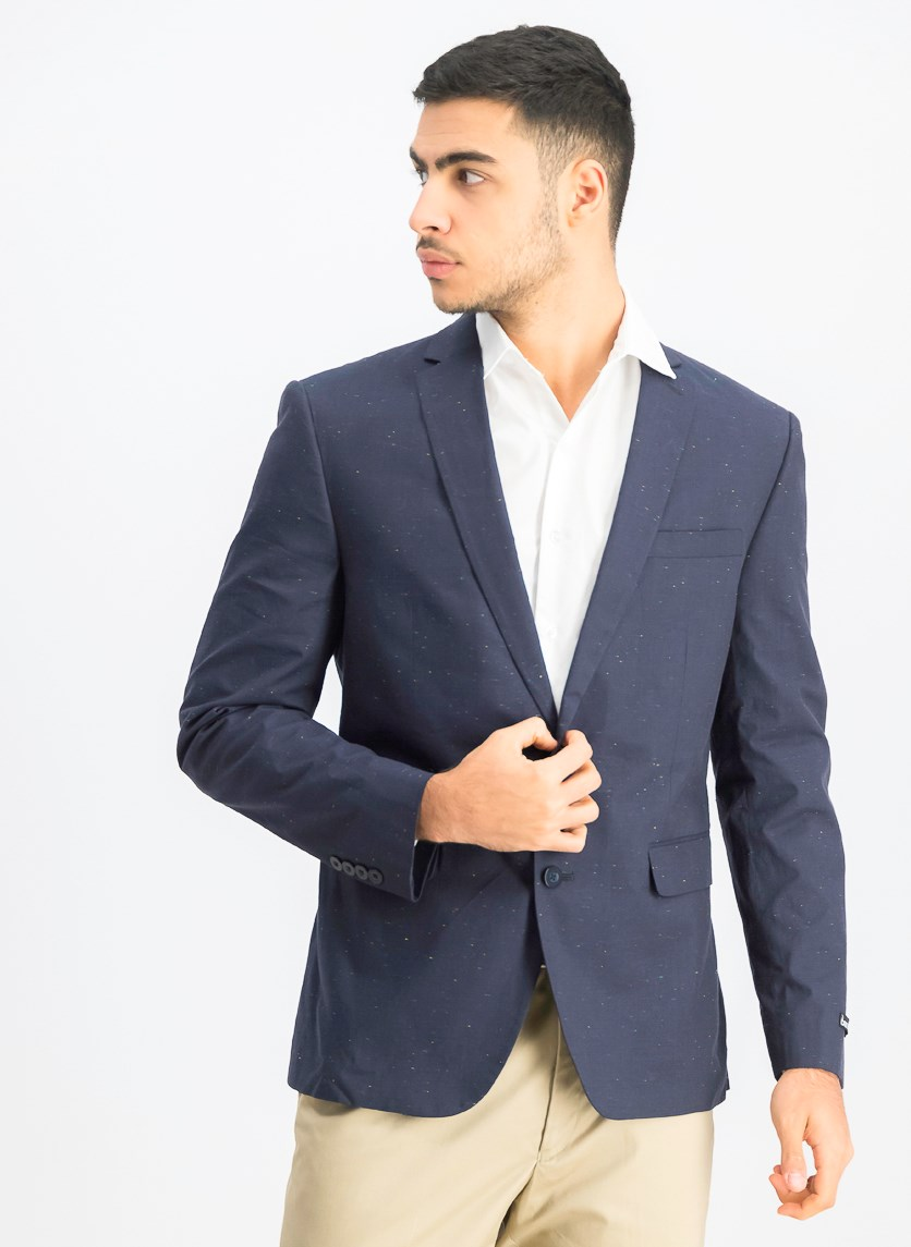 Mens Slim Fit Two-Button Textured Sport Coat, Navy Blue