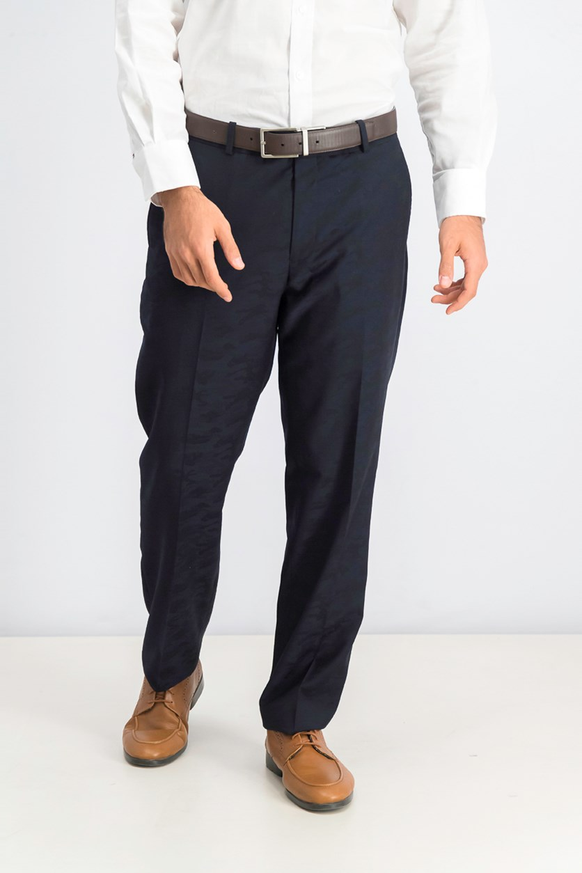 Men's Flat Front Slim Fit Dress Pants, Navy