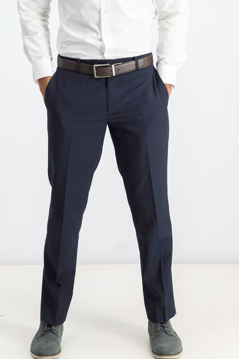 Men's Windowpane Flat Front Slim Fit Dress Pants, Dark Navy